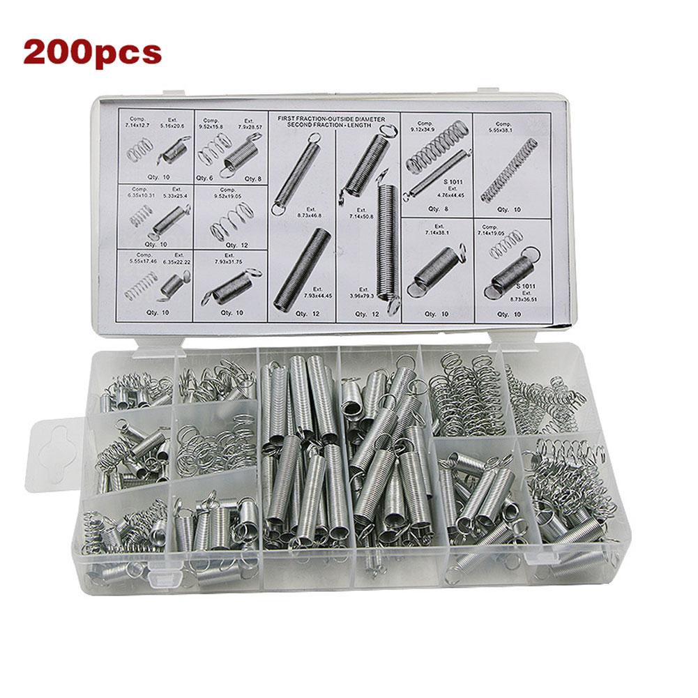 200 unids/caja juego de resortes de tensión de Metal de tamaño mixto/Kit de resorte de compresión TSH Shop