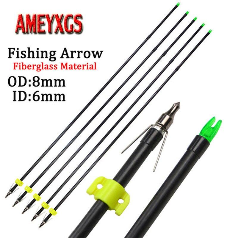9/12 piezas 31,5 pulgadas arco pesca flecha fibra de vidrio flechas OD8mm Bowfishing seguridad Slider para accesorios de caza al aire libre