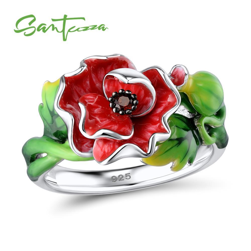 SANTUZZA Silver Ring For Women 925 Sterling Silver Gorgeous Red Flower Shiny Garnet Nano CZ Fashion Jewelry Handmade Enamel