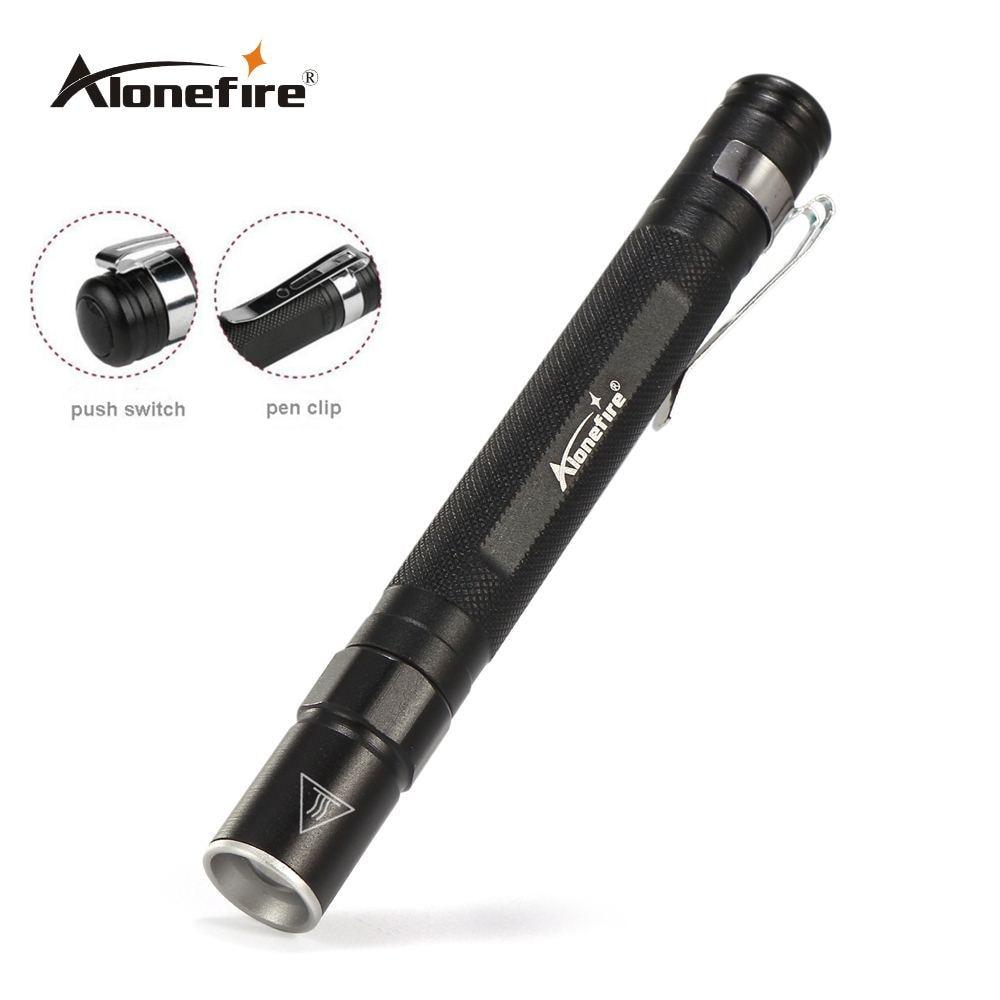 AloneFire MN23 pluma de Luz Portátil impermeable Mini linterna LED con Zoom antorcha CREE XPE Q5 led caza de lámpara de Camping para la batería AAA