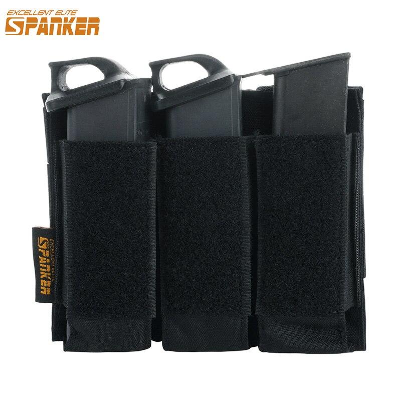 Excelente ELITE SPANKER táctico Molle Triple revista fundas estilo militar pistola Clip pequeña bolsa accesorios Glock bolsas