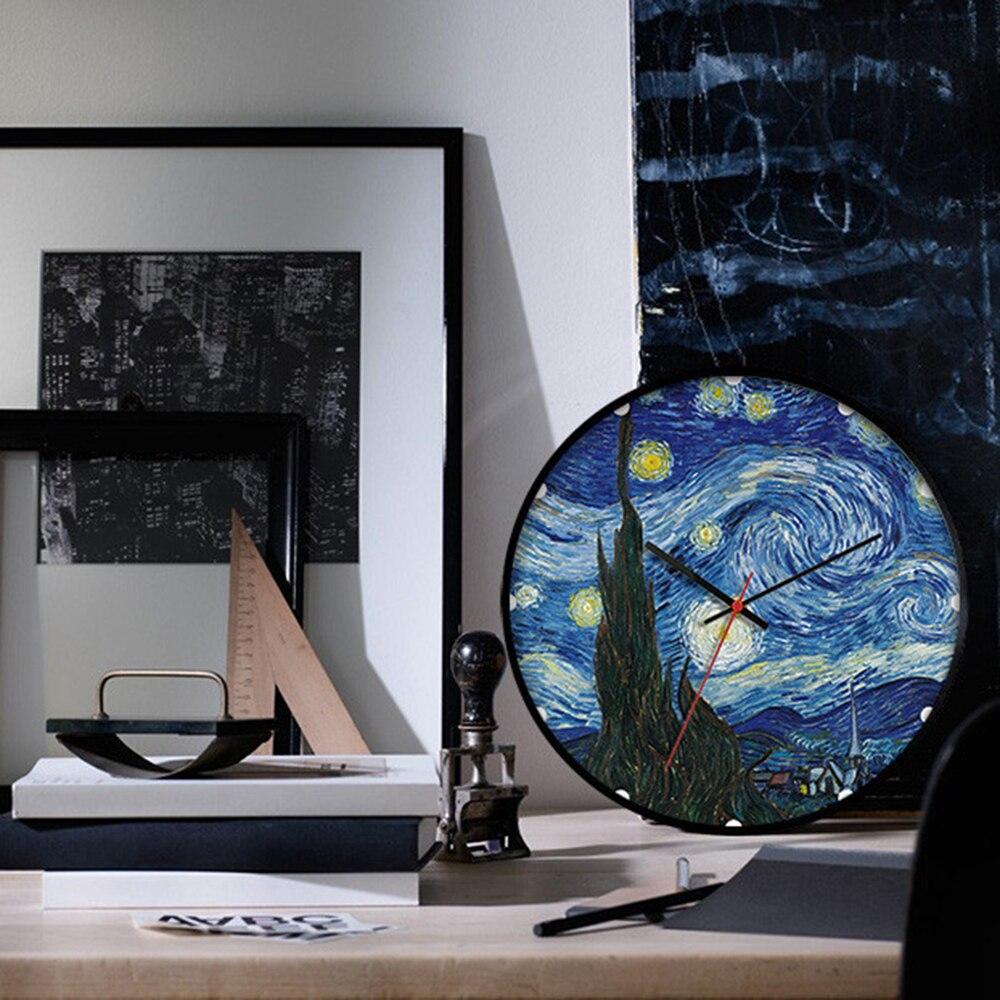 Arte europeia relógio de parede design moderno van gogh a noite estrelada relógio de parede redondo arte decoração da sua casa relógio silencioso 12 polegada
