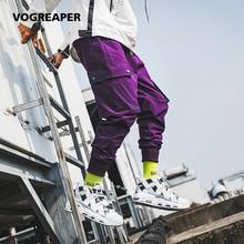 Autumn New Multi Pockets Cargo Pants Men Drawstring Waist Purple Joggers Trousers Black Streetwear Sweat Pants