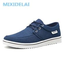 MIXIDELAI Neue Ankunft Frühling Sommer Komfortable Casual Schuhe Herren Leinwand Schuhe Für Männer Lace-Up Marke Mode Flache Müßiggänger schuh