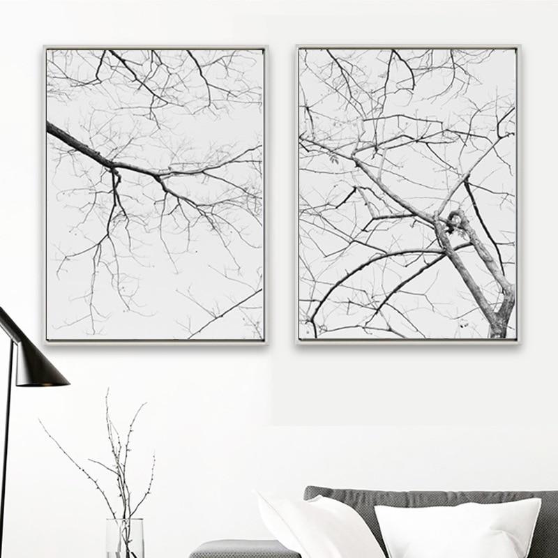Cuadro artístico impreso sobre lienzo con dibujo de ramas de árboles en blanco y negro Vintage de HAOCHU para decoración de paredes del hogar