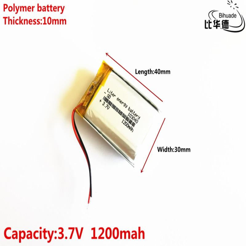 Boa Qulity Litro 3.7V bateria de energia, 1200mAH 103040 bateria De Polímero de iões de lítio/BANCO de bateria Li-ion para tablet pc, GPS, mp3, mp4