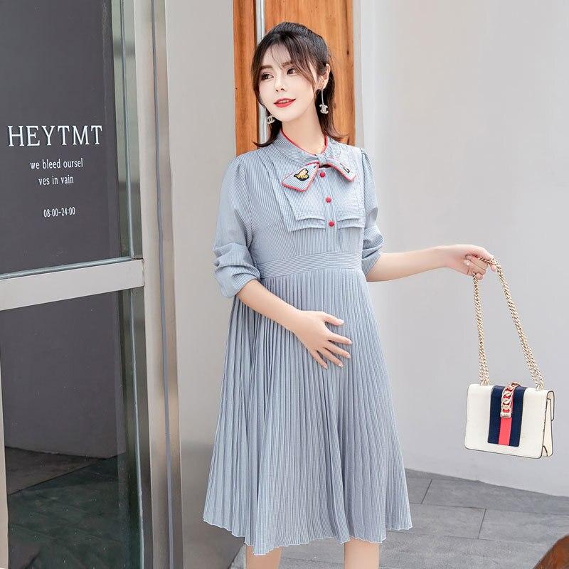 Vestido de maternidad en otoño e invierno a rayas embarazo estilo coreano vestido de mujer embarazada suelto fotografía de maternidad