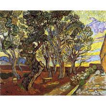 Handmade oil painting reproduction of Vincent Van Gogh High quality The Garden Of Saint Paul Hospital Living room decor