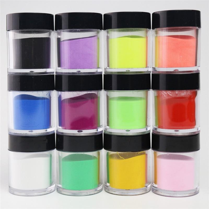 10 g/caixa prego acrílico em pó e líquido 12 cores fa82 polímero esculpido brilho em pó para unhas arte decorações encantos manicure