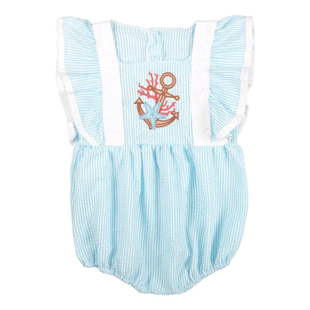 Bebé niña mameluco verano CONICE NINI chica ropa burbuja Puff manga bordado azul recién nacido Boutique bebé niñas Romper