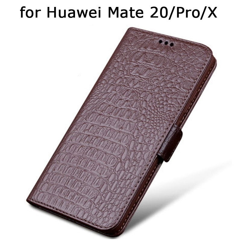 Funda cartera para Huawei Mate 20 Mate 20Pro lujosa funda de teléfono de cuero genuino con tarjetero para Huawei Mate 20X Fundas Skin