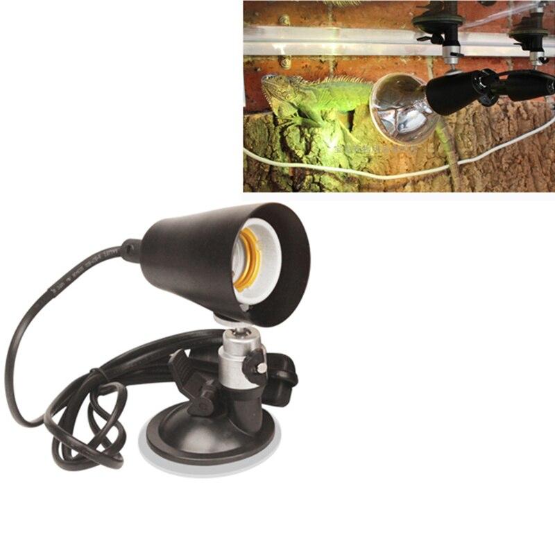 Lámpara de acuario giratoria profesional de 360 grados para caja de alimentación de reptiles soporte de lámpara E27 de succión de pared