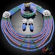 Kostenloser Versand Mode afrikanische perlen schmuck set Großhandel mikron purpal kristall blume sets schmuck