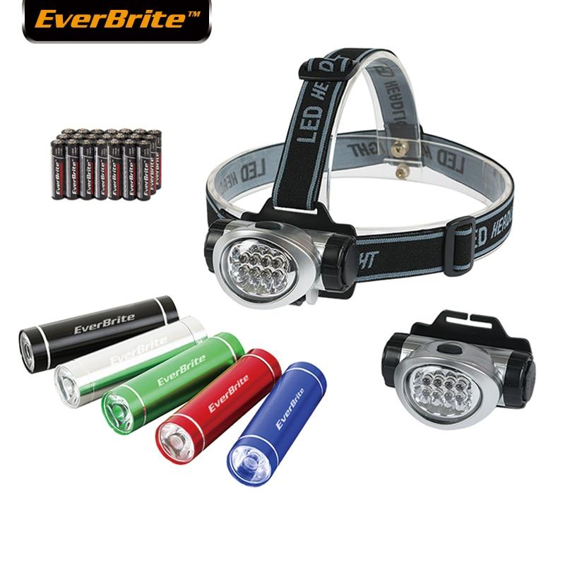 2 faros LED EVERBRITE con lámpara de repuesto + 5 unidades de luces LED, minilinterna LED en colores caramelo, paquete de 7 unidades
