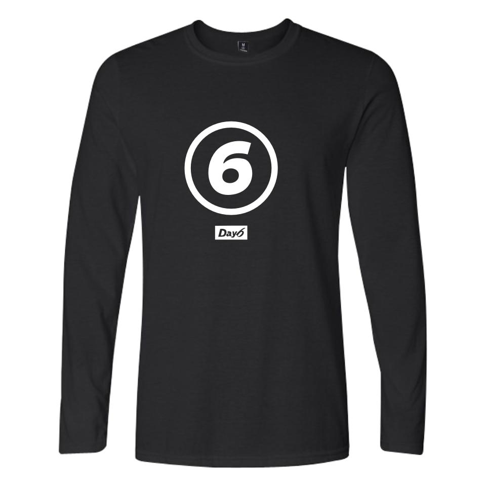 Banda coreana Day6 camisetas de algodón estampado Homme manga larga día 6 Imprimir camiseta Tops nombre de miembro impreso