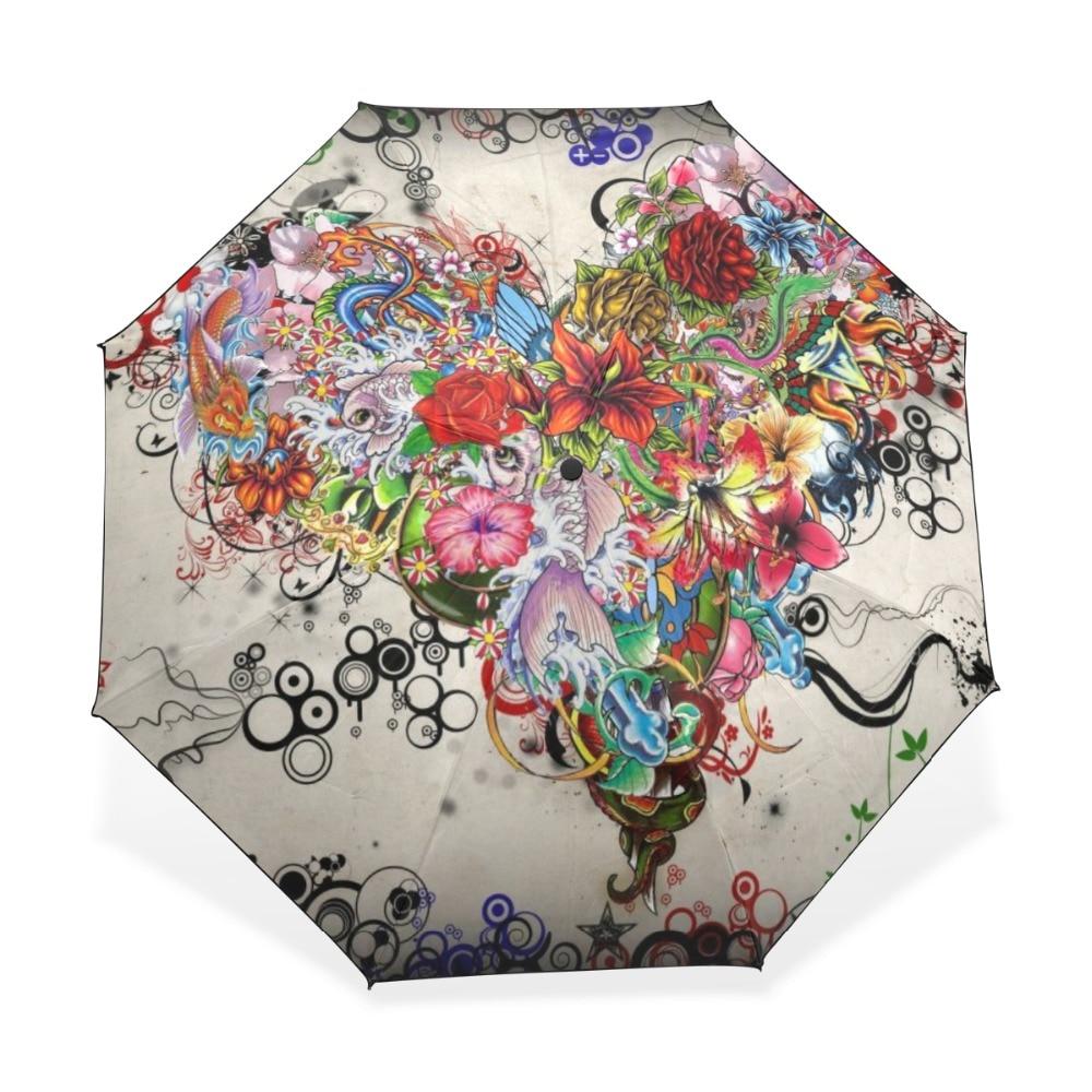 3 dobrável guarda-sol proteção anti-uv feminino chuva guarda-sóis floral coração arte padrão à prova de vento compacto ultra viagem guarda-chuva