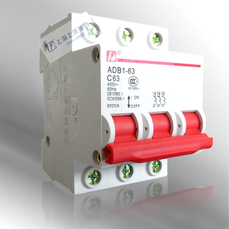 Grupo interruptor miniatura/(ADB1) DZ47-3P 63A/DZ47-63 C63 rojo