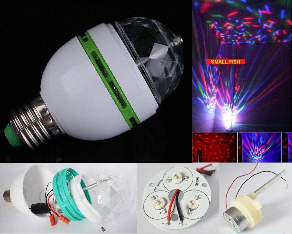 ¡Gran oferta! Bombilla LED RGB E27 de 3W colorida con rotación automática, lámpara de fiesta para escenario, luces de discoteca con efecto de movimiento de cabezal, focos inalámbricos