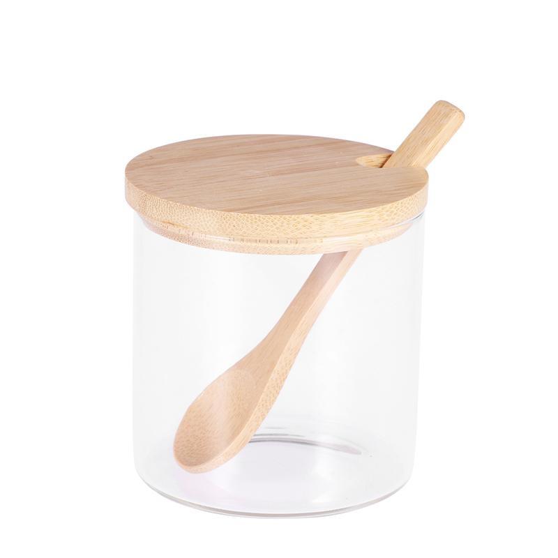 1 ud. Tarros de especias conciso claro cocina tarros de condimentos contenedores de almacenamiento con cuchara de madera tapa de bambú para servir azúcar té nueces