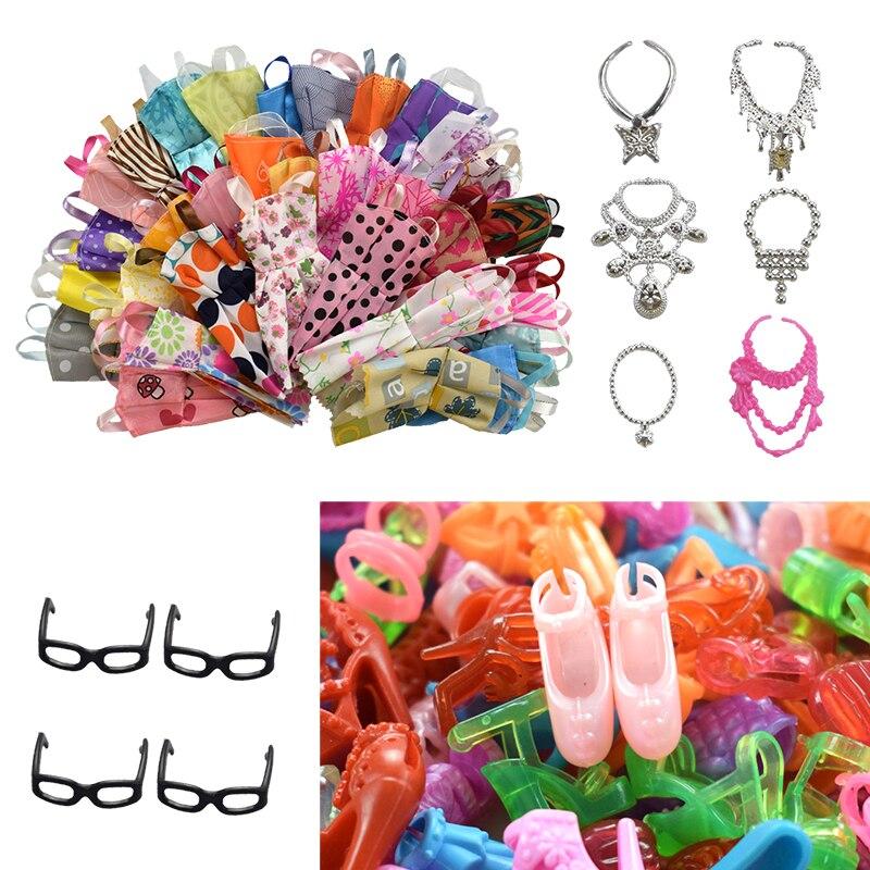 30 предметов/комплект, аксессуары для кукол = 10 шт., платье для кукол + 4 стакана + 6 пластиковых ожерелий + 10 пар, кукольная обувь для аксессуаров...