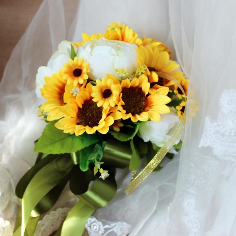 Amarillo girasol peonía blanca Buquet para broche de novia ramos de novia boda fuera de la boda artificial flores de la boda