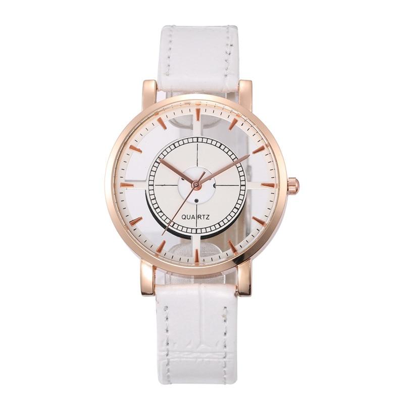 Hot Fashion Women Watch Luxury Leather Skeleton Strap Watch Women Dress Watch Casual Quartz Watch Re