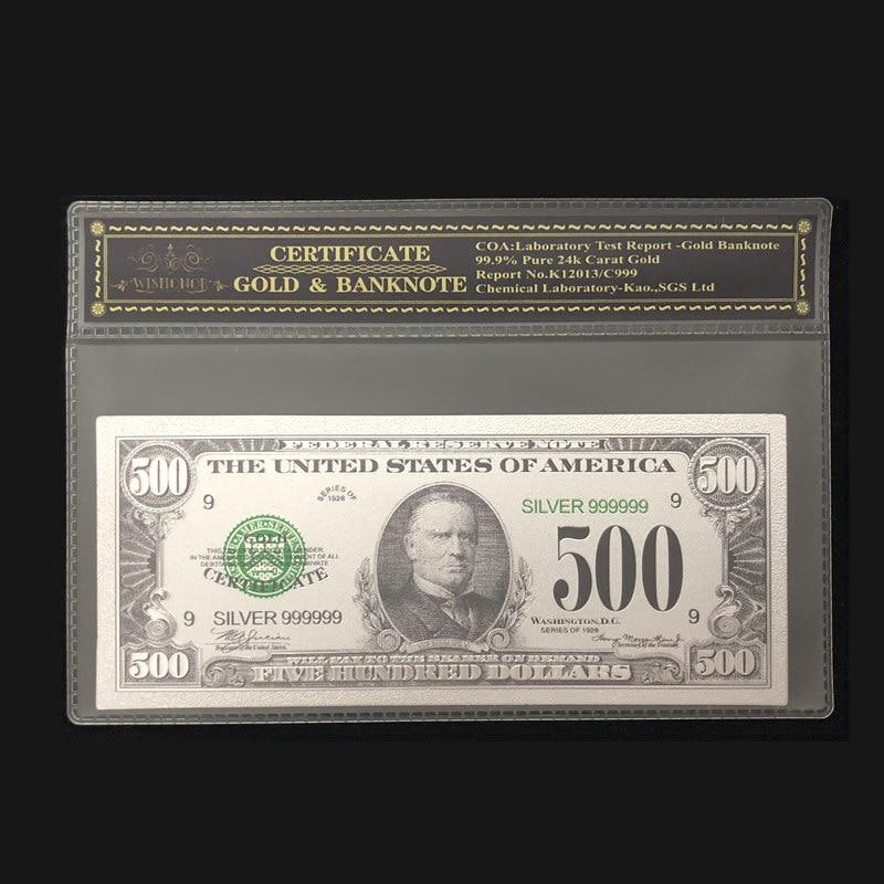 Neue Produkte Für 1918s Silber Amerikanischen Banknote 500 dollar Banknote in 24k Silber Überzogene mit COA Rahmen Für Sammlung
