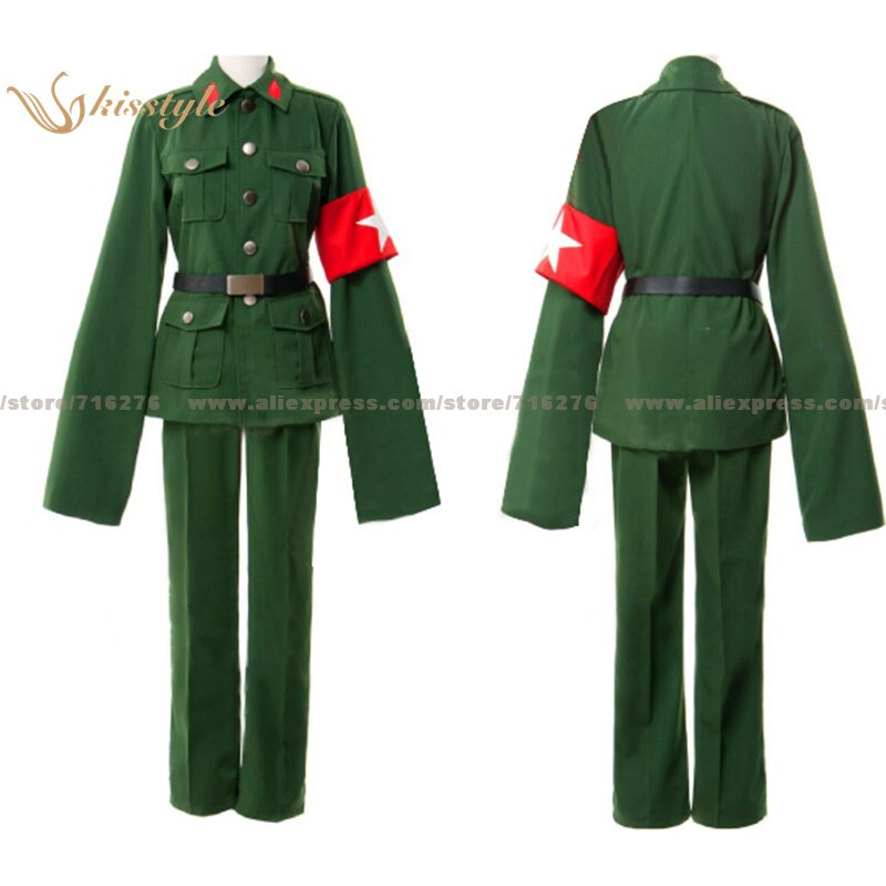 Moda hetalia de kisstyle Axis Powers China Wand Yao verde oscuro uniforme Cosplay disfraz, personalizado aceptado