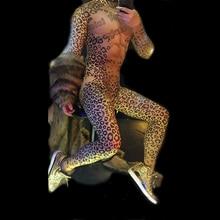 Men's muscle sexy red eye leopard print elastic jumpsuit bar nightclub concert singer dancer costume