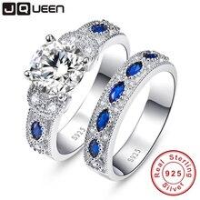 Hohe Qualität Weiß CZ & Sapphire Solide Echt Sterling Silber Schmuck 2-tlg Hochzeit Engagement 925 Silber Schmuck Ring Set