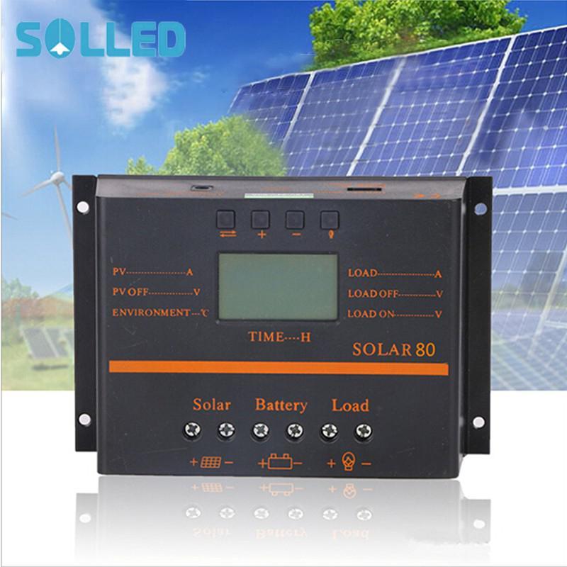وحدة تحكم بالطاقة الشمسية مع شاشة LCD ، لوحة شمسية كهروضوئية ، PWM ، 12V ، 24V ، SOLLED 80A