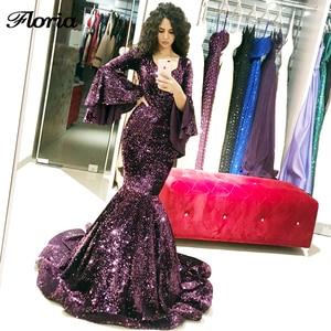 Shining Sequins V Neck Long Evening Dresses For Weddings Robe De Soiree Arabic Dubai Prom Dress 2019 Saudi Arabia Party Gowns