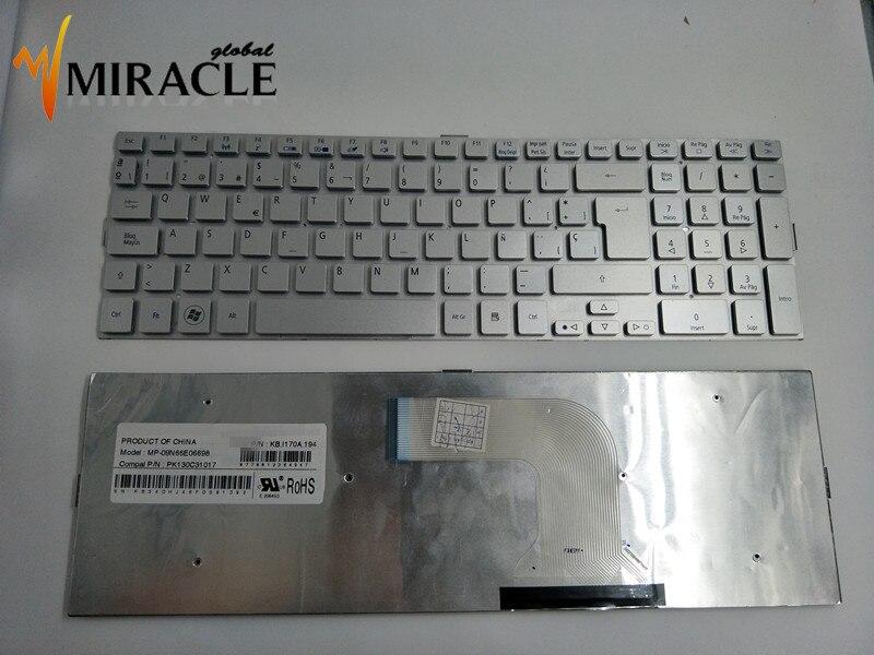 Napraw ci życie Laptop klawiatura do Acer 5943G 5943 5950 5950g SP/LA hiszpański układ srebrny kolor nowy i oryginalny