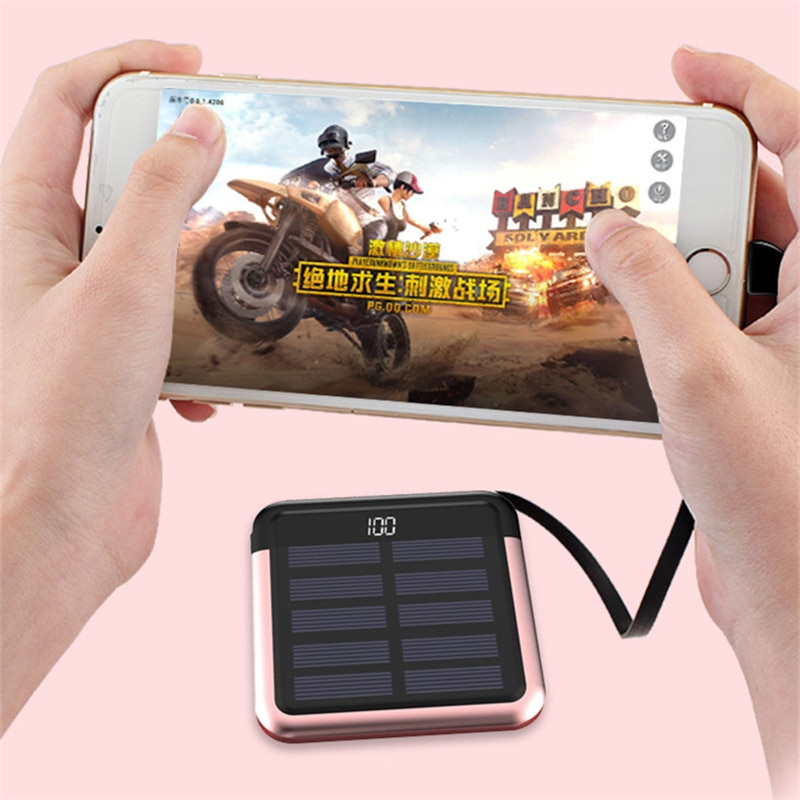 10000mAh Solar Power Bank Portable Phone Fast Charging External Battery Pack USB Solar Charger for Xiaomi iPhone Mini Powerbank