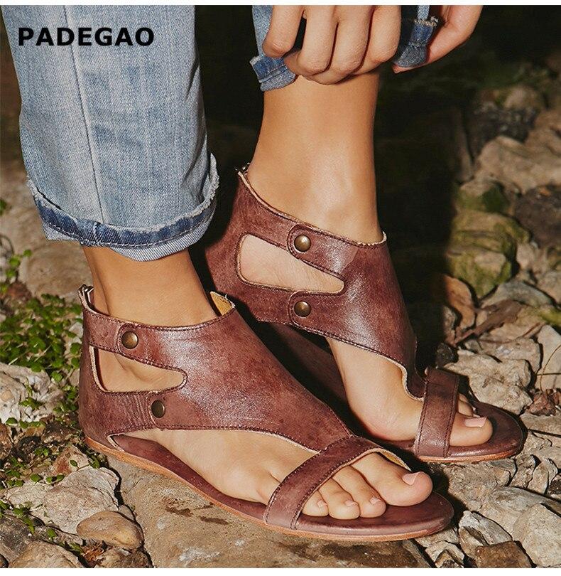 Sandalias de gladiador de cuero suave para mujer, zapatos de verano informales para mujer, 35-43 Sandalias planas de talla grande con cremallera, zapatos de playa para mujer