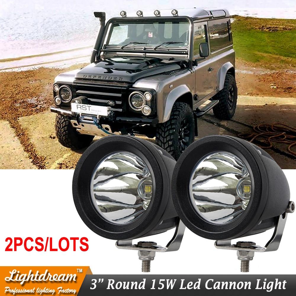 "2pcs/lot Free shipping 3inch Round Spot flood led cannon light 3"" 15w led work lamp used for boat truck car suv atv led light"