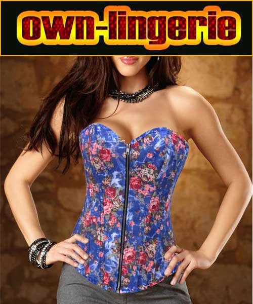 zipper front floral cheap corset