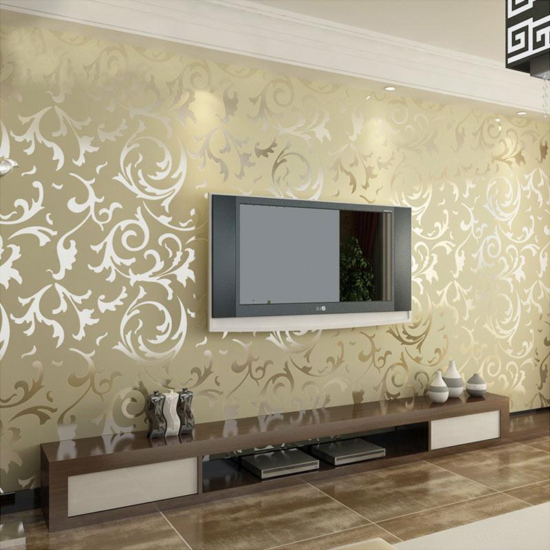 ورق حائط ثلاثي الأبعاد غير منسوج بنمط دمشقي ، ورق حائط فاخر لتزيين الجدران خلف التلفزيون ، نمط كلاسيكي ، مثالي لغرفة المعيشة.