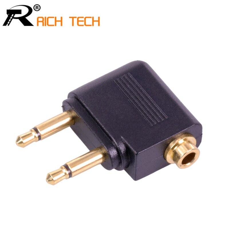 Conector de convertidor de Audio para auriculares de avión chapado en oro Mono Jack 3,5 de 3,5mm, Conector Mono a Jack estéreo de doble canal de 3,5mm