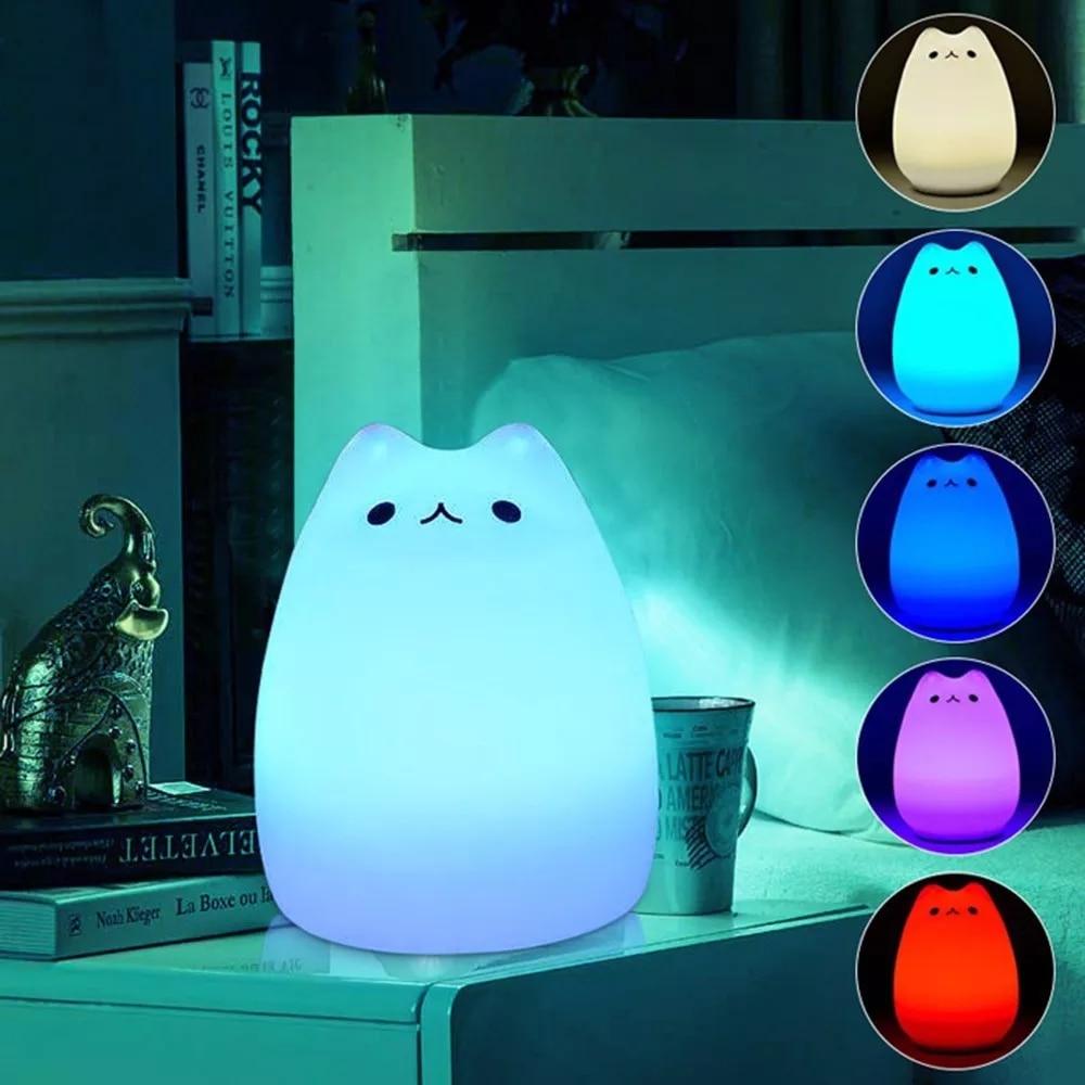 Светодиодный силиконовый мягкий ночник, лампа 7 видов цветов, сменный милый кот, чувствительный кран, управление, спальные ночные светильники для детей