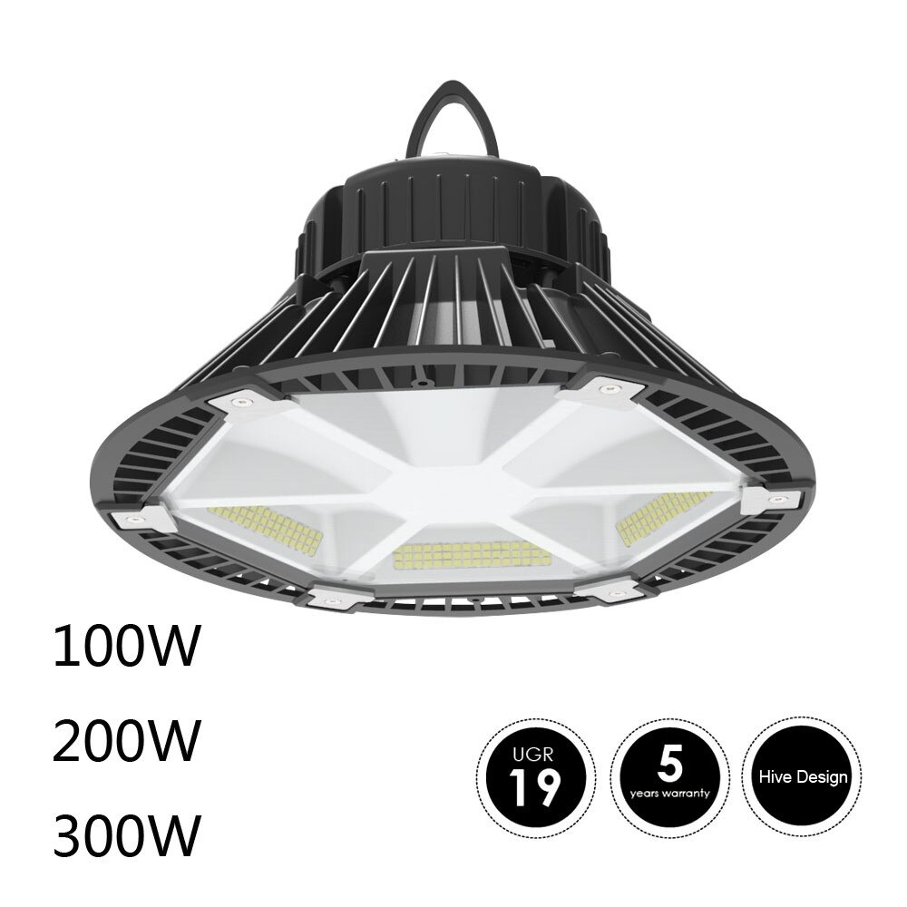 160lm/w 100W 150W 200W 2018 nuevo diseño de colmena luz LED para techo alto lado de DALI (Meanwell) luces UFO UGR <19
