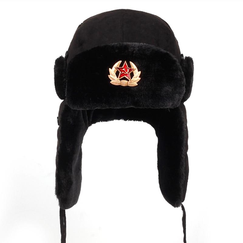 Soviet Army Military Badge Russia Ushanka Bomber Hats Pilot Trapper Aviator Cap Winter Faux Rabbit F