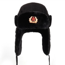 Soviet Army Military Badge Russia Ushanka Bomber Hats Pilot Trapper Aviator Cap Winter Faux Rabbit F
