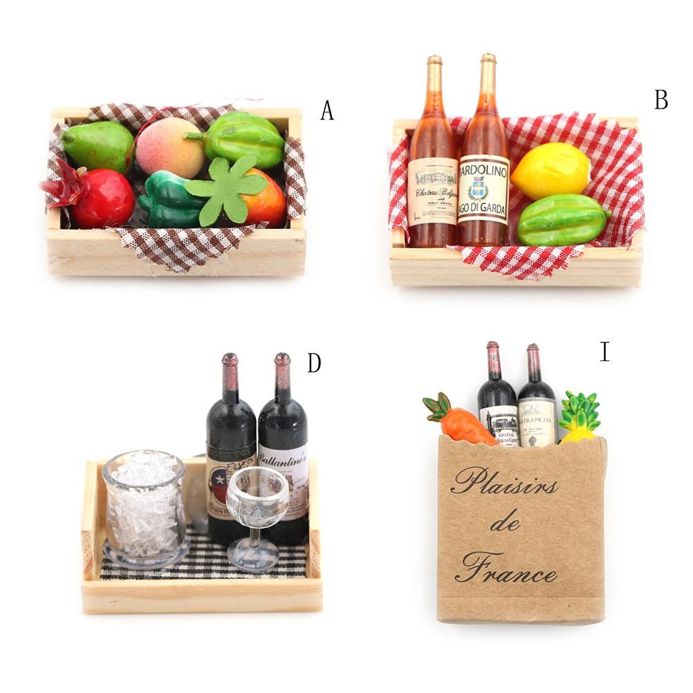 Minibotellas de vino en miniatura para casa de muñecas 112, caja de fruta, caja de dulces, comida de juguete, juego para regalo de colección, 4 estilos