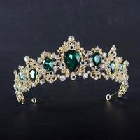 KMVEXO Baroque Red Blue Green Crown Crystal Bridal Tiaras Vintage Gold Hair Accessories Wedding Rhinestone Diadem Pageant Crowns