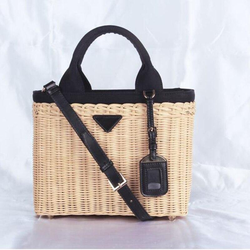 المرأة حقيبة حقيبة يد فاخرة الروطان القش حقائب كروسبودي للنساء جلد طبيعي حقائب الشاطئ العلامة التجارية الأصلية مصمم 2019 فام