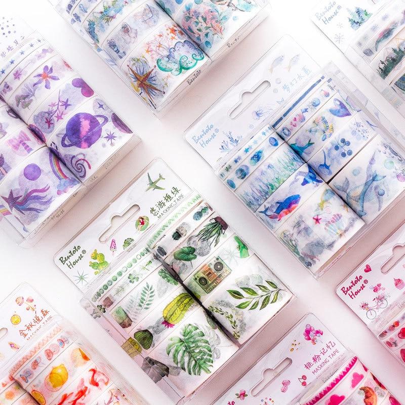 10 rollos/set Sueño Azul agua serie decorativa Washi Tape de papel conjunto japonés papelería Kawaii suministros de Scrapbooking pegatinas
