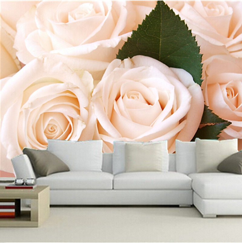 Murales 3D personalizados, hermoso romántico blanco rosa closeup papel de parede, sofá sala de estar TV dormitorio Fondo papel tapiz