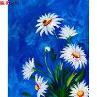 Peinture de diamant a faire soi-bricolage  broderie de fleurs blanches  point de croix  broderie complete  art XY1  decoration de la maison