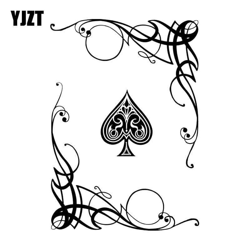 YJZT 13.1*18.6CM Encantador Etiqueta Do Carro Vinil Gráfico Cartões de Jogo de Poker Mais Legal Misterioso Flowers Decor C12-0079